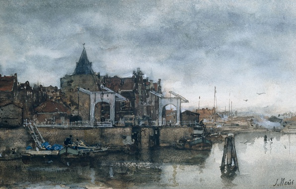 Picture the city, figure, watercolor, Jacob Maris Hendrikus, Tower Schreierstoren in Amsterdam