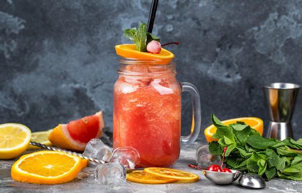 Picture ice, Cocktail, citrus, mint