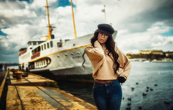 Picture pose, model, ship, Marina, portrait, jeans, makeup, figure, glasses, hairstyle, gloves, cap, brown hair, beauty, …