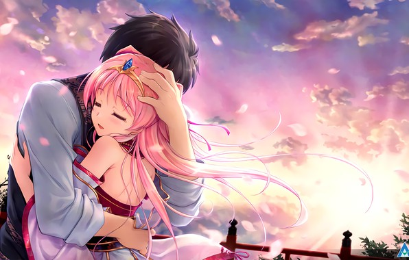 Picture girl, romance, anime, art, guy, two, hug, Tsukisome well Kouki, Sen no Hatou