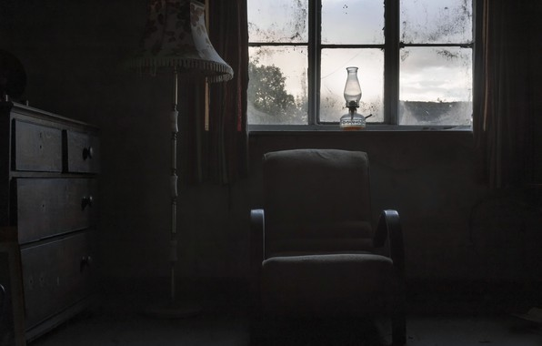 Picture lamp, chair, window