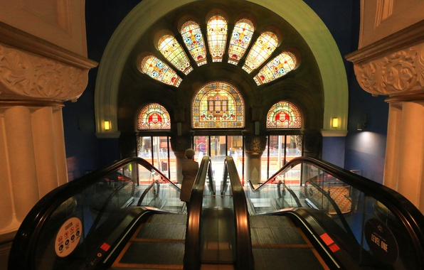 Photo wallpaper escalator, The Queen Victoria Building, stained glass, Australia, Sydney