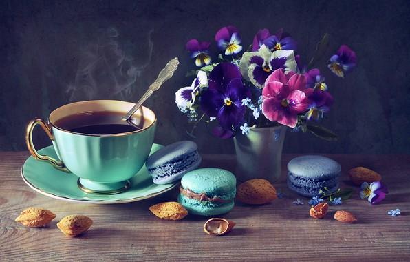 Picture flowers, coffee, Cup, nuts, Pansy, cakes, almonds, forget-me-nots, violet, vase, pasta, Anastasia Soloveva, Anastasia Soloviova