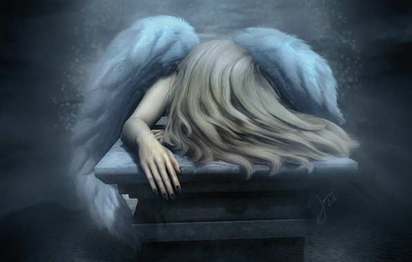 Picture sadness, mood, hair, wings, angel