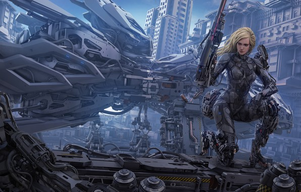 Picture girl, the city, weapons, fiction, art, blonde, cyborg
