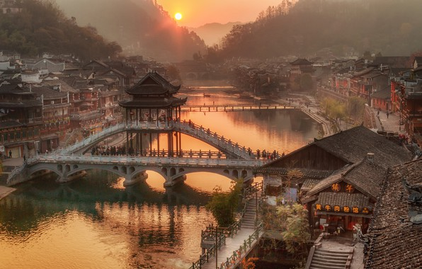 Picture forest, the sun, trees, mountains, bridge, fog, river, dawn, home, China, Hunan Province