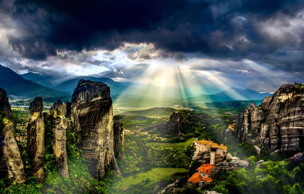 Picture greens, summer, the sky, the sun, clouds, rays, light, landscape, mountains, clouds, nature, house, stones, …