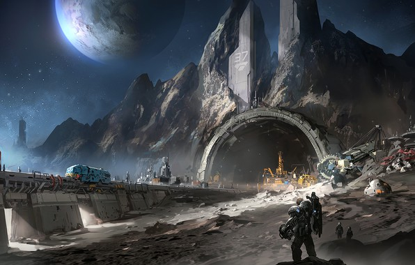 Picture fantasy, Space, stars, man, planet, digital art, artwork, fantasy art, futuristic, mine, mining, convoy