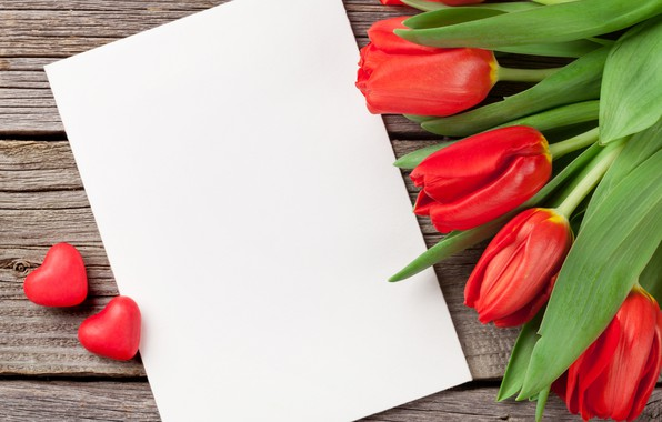 Picture love, flowers, bouquet, hearts, tulips, red, love, wood, flowers, romantic, hearts, tulips, Valentine's Day