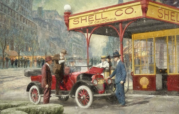 Picture the city, retro, people, car, gas station, 1920, Shell Station