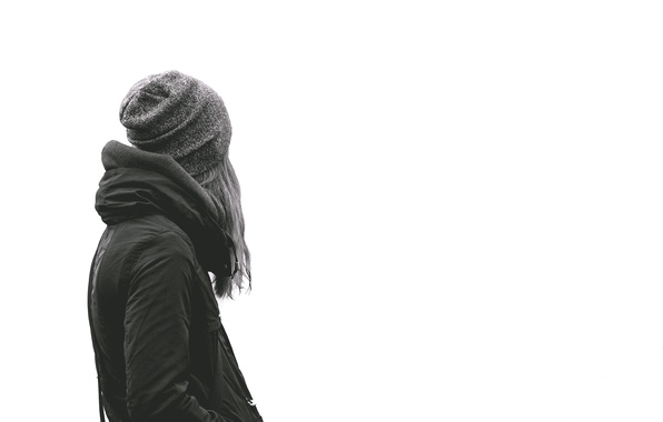 Photo wallpaper Girl, Hat, Jacket, White Background
