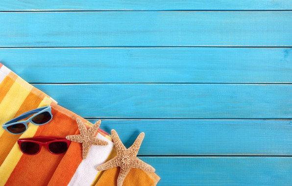 Picture Board, towel, glasses, starfish