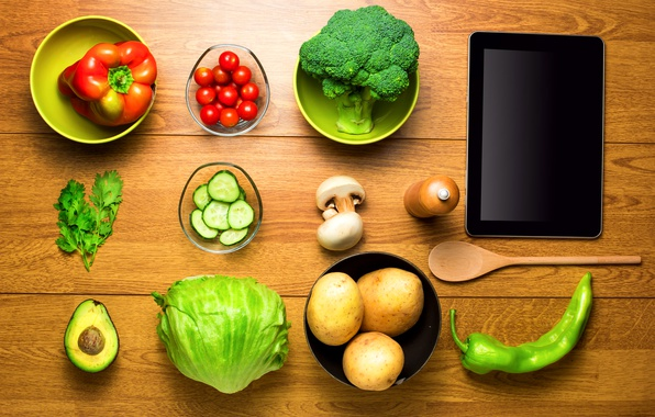 Picture greens, table, mushrooms, Cup, pepper, tablet, vegetables, tomatoes, cabbage, the view from the top, cucumbers, …