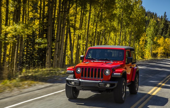 Picture road, greens, trees, red, markup, roadside, 2018, Jeep, Wrangler Rubicon