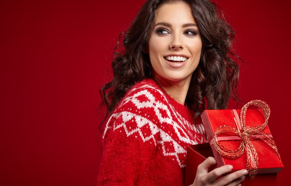 Picture look, girl, smile, mood, holiday, gift, model, new year, makeup, brown hair, Izabela Magician