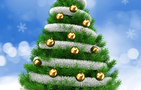 Picture New Year, Christmas, Balls, Tree