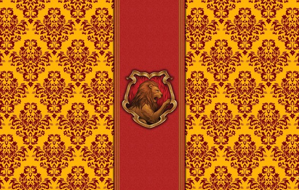 Picture red, Leo, emblem, Harry Potter, gold, Harry Potter, Hogwards, Hogwarts, Gryffindor, Gryffindor