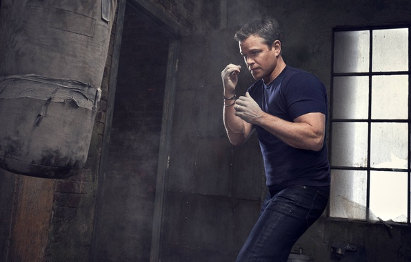 Picture jeans, hands, t-shirt, Boxing, actor, pear, fists, Matt Damon, photoshoot, stand, Matt Damon, for the …