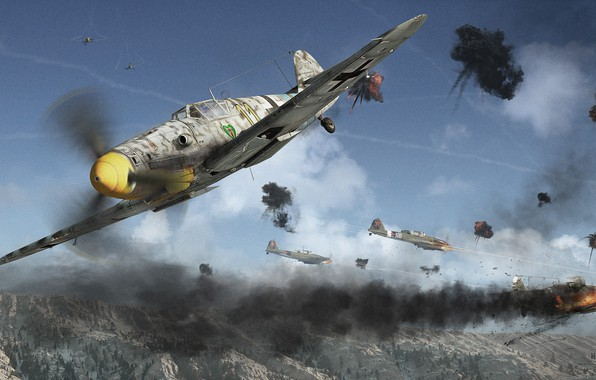 Picture mountains, battle, the battle, aircraft, Yak-9u Vs Bf 109G 6