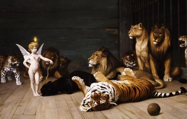 Picture animals, tiger, picture, Leo, Jean-Leon Gerome, Love The Conqueror