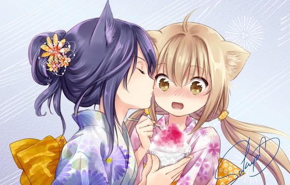 Photo Wallpaper Girls Kiss Anime