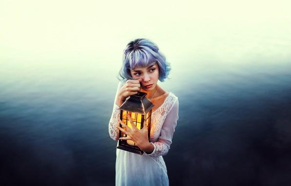 Picture water, girl, mood, lantern, blue hair, Valentina Diaz