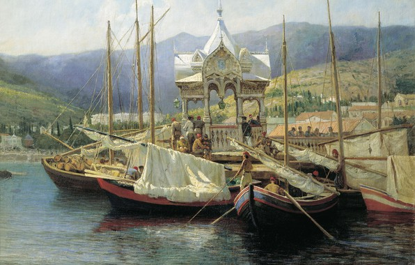 Picture oil, Canvas, Grigory MYASOEDOV, Pier in Yalta
