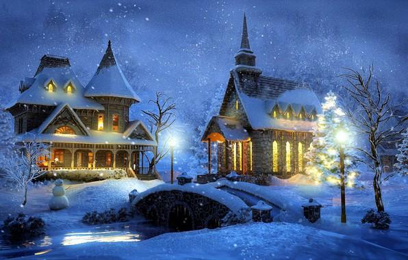 Wallpaper winter, snow, night, bridge, home, lights ...