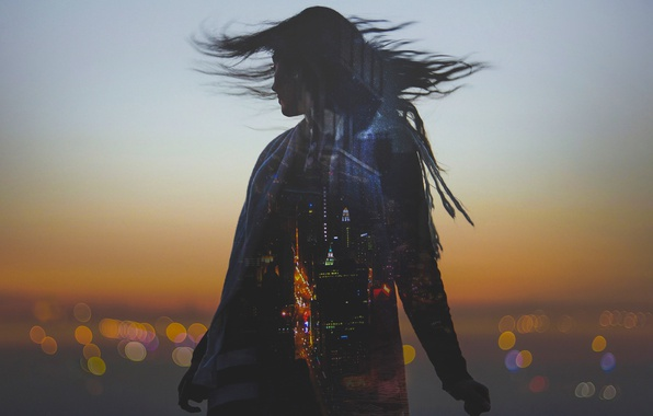 Picture girl, the city, bokeh