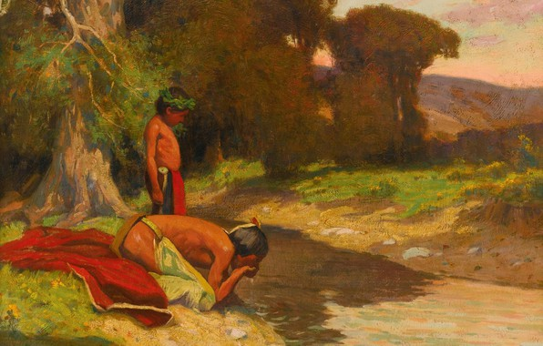 Picture river, father and son, Eanger Irving Couse, The Cooling Stream