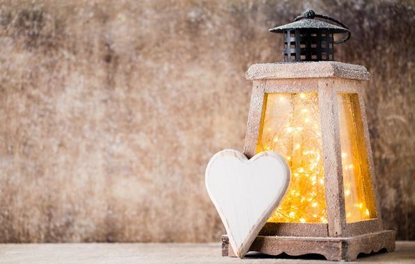 Picture heart, New Year, Christmas, lantern, heart, winter, snow, merry christmas, lantern