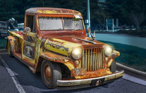 Picture Vintage, 1947, Rat Rod, Willys, Retro Cars