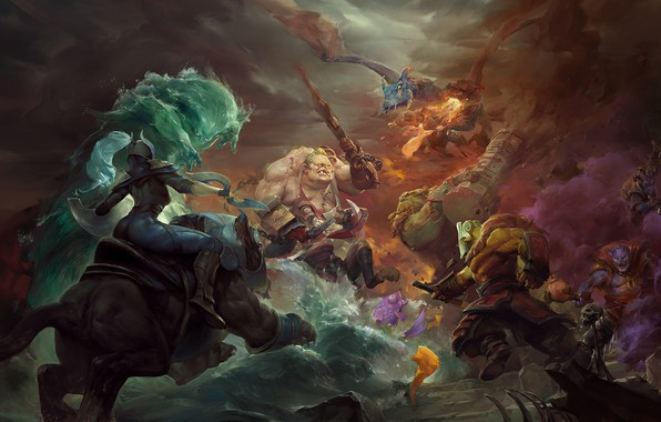 Picture art, battle, heroes, dota 2, moba