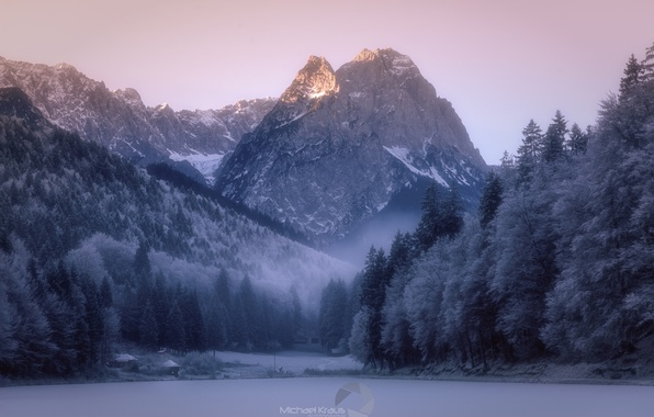 Picture winter, frost, forest, snow, mountains, nature, haze