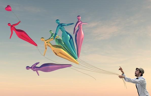 Picture the sky, balloons, people, Chris Jones
