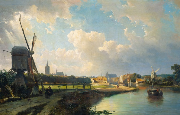 Picture landscape, oil, picture, windmill, Caspar Carsen, The view of the Hague from Delft