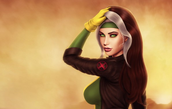 Picture chest, girl, face, hair, beauty, X-Men, Rogue, marvel comics, Anna Marie