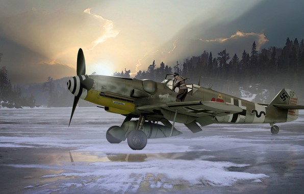 Picture Painting, Messerschmitt, Air force, piston, single-engine, Bf.109G-6/R6, fighter-low
