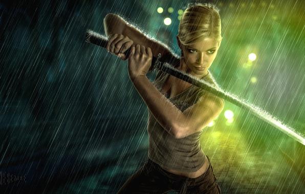 Picture girl, rain, sword