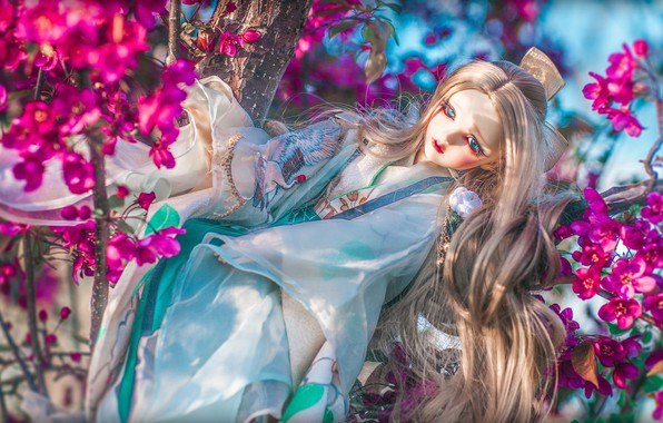 Picture toy, doll, kimono, flowering, flowers