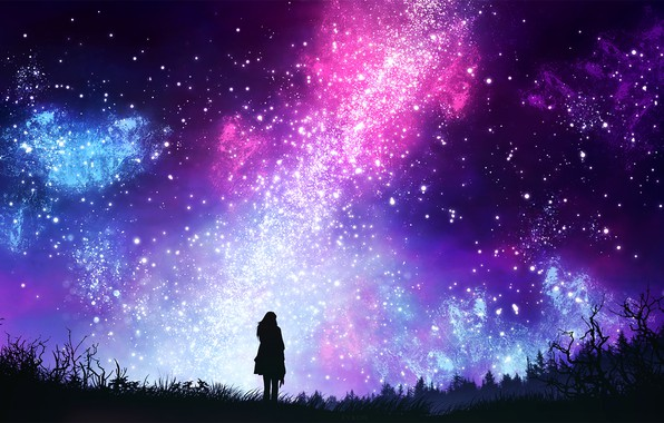 Picture the sky, girl, space, night, by kvacm