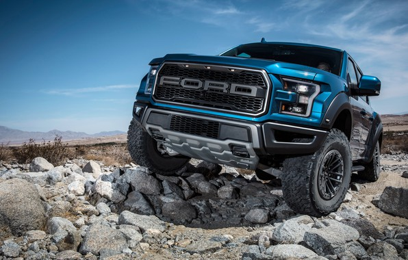 Picture Ford, front view, Raptor, pickup, F-150, SuperCrew, 2019