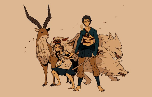 Picture power, wolf, sword, deer, grin, wolves, Prince, Hayao Miyazaki, anime, art, Mononoke, Princess Mononoke, Mononoke-hime, …
