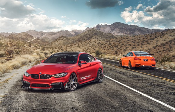 Picture road, auto, red, BMW M4