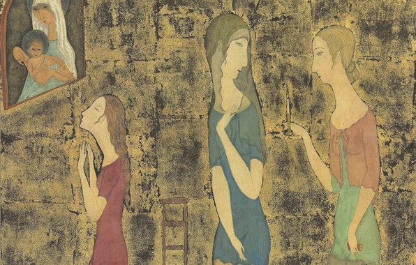 Picture watercolor, brush, 1917, Tsuguharu, Fujita, Madonna and the three ladies, pen and ink and gold …
