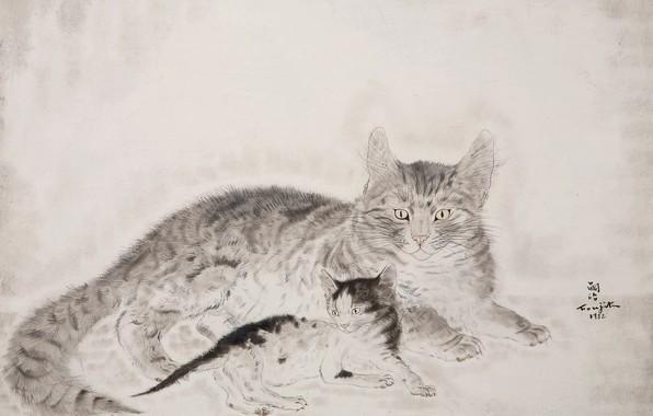 Picture black and white, 1932, Tsuguharu, Fujita, Cat with kitten