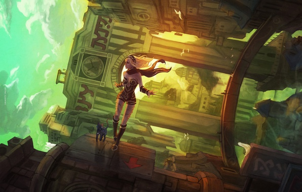 Picture cat, girl, the city, house, fiction, gravity, art, gravity rush 2