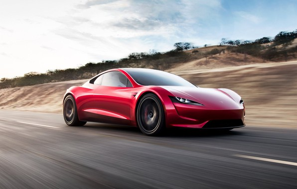Photo wallpaper car, Roadster, future, red, Tesla, 2020, Tesla Roadst