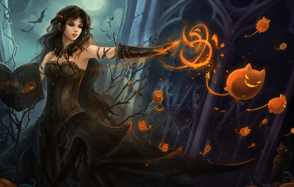 Picture girl, fiction, magic, art, witch