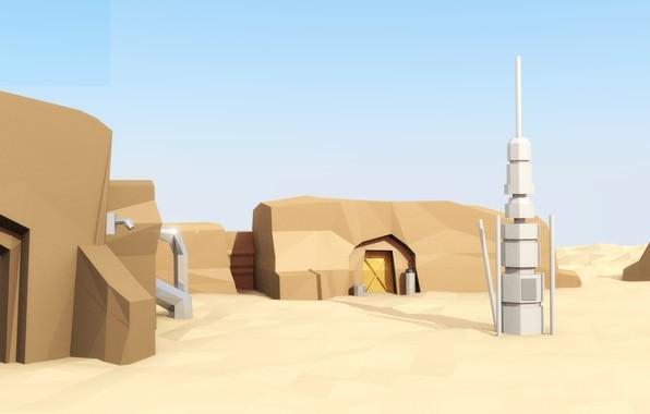 Wallpaper Sand Home Star Wars Star Wars Tatooine Episode 1 Tatooine Low Poly The Phantom Menace Phantom Menace Images For Desktop Section Raznoe Download